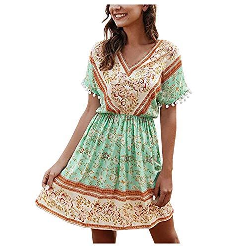 Masrin Damen A-Linie Kleid Mode Boho Blumendruck Swing Kleid Bequemes Kurzarm V-Ausschnitt Knielanges Kleid Empire...