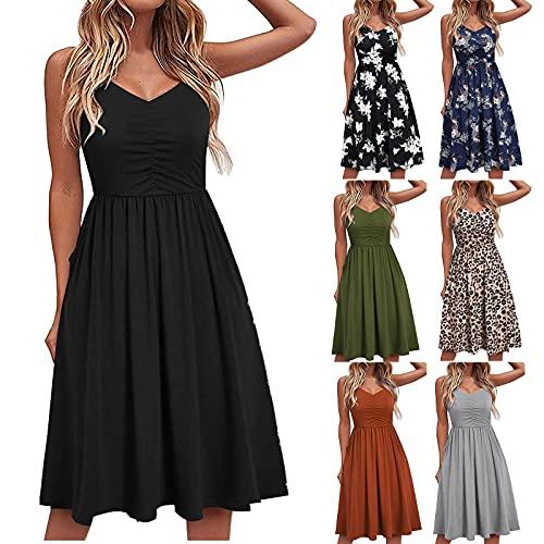 MEIYOUMK Damen Ärmelloses Freizeitkleid Sommerkleid Knielang Elegantes Kleid Damen Strandkleid Plus Size Print...