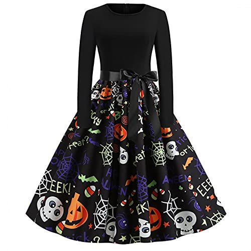 Dasongff Halloween Kostüm Damen Vintage Elegant Kleider Langarm Retro Lange Ärmel Kürbis Printed Skater Kleider...