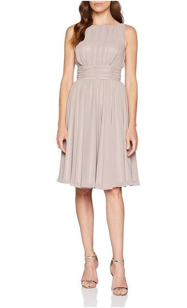 20er Jahre Swing Kleid Damen beige Vintage Mode Retro Outfit