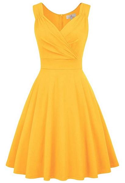 50er Jahre Swing Kleid Vintage Outfit Rockabilly Petticoat Kleid Retro Mode Damen gelb