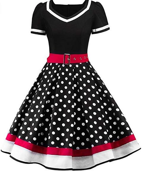 Swing Kleid 50er Jahre Rockabilly Petticoat Outfit Retro Mode Polka Dots Damen schwarz