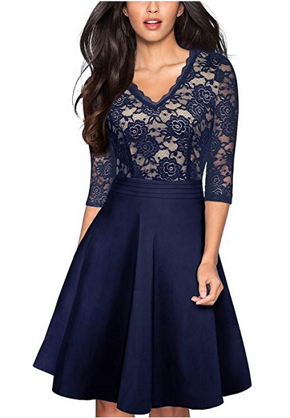 Swing Kleid Damen blau 20er 50er Jahre Vintage Mode Retro Outfit Rockabilly Kleid